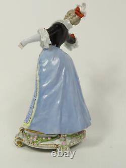 Antique Karl Ens Volkstedt Porcelain Woman Holding Rose Figurine Kve Mark
