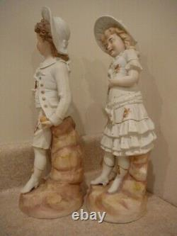 Antique Large German Bisque Porcelain China Pair Figurines Statues Boy Girl Rw