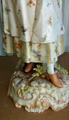 Antique Large German Volkstedt Porcelain Figurine, Country Lady, 16 high