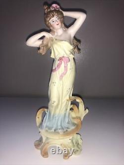 Antique Lot Art Nouveau Victorian Bisque Mucha Maiden Lady Woman Figurine Figure