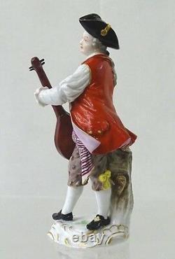 Antique Meissen Porcelain Figurine Statue Mandolin Player Model 76 Rare Variant