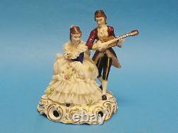 Antique Muller Volkstedt Dresden Lace Serenading Couple Figurine