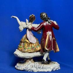 Antique Original Germany Dresden Lace Volkstedt Couple Lovers Porcelain Figurine