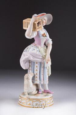 Antique Original Porcelain Figurine Meissen Lady with bird and sheep Marked 18cm