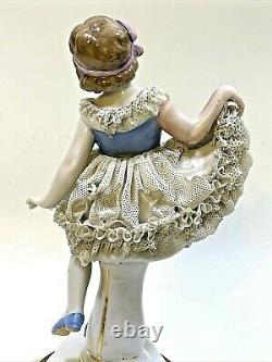 Antique Porcelain (Dresden) Lady Figurine Lace Dress Marble Base 7 1/4'tall