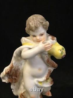 Antique Porcelain Meissen Putti Figurine. Winter