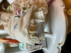Antique Pretty German Woman And Bird Porcelain Lace Figurine With Free Shipping