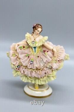 Antique RUDOLSTADT Volkstedt Dresden Lace Porcelain Ballerina Krasavina Tamara