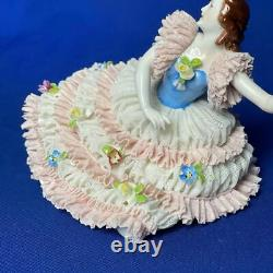 Antique Rare Germany Dresden Lace Muller & Co Dance Ballet Porcelain Figurine