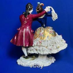 Antique Rare Germany Dresden Lace Volkstedt Couple Lovers Porcelain Figurine