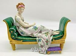 Antique Rare Sitzendorf 1918 German Vintage Porcelain Figurine Madame Recamier