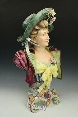 Antique Royal Dux Majolica figurine Bust of Lady WorldWide