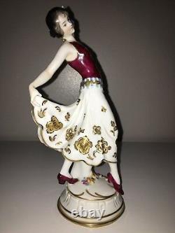 Antique Volkstedt Porcelain Art Deco German Lady Woman Dancer Figurine Figure