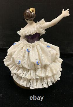 Antique / Vtg Volkstedt Dresden Figurine Porcelain Lace Ballerina Dancer Germany