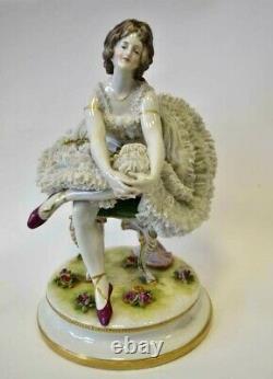Antique original porcelain Figurine Ballerina lace dress 1890 Germany Volkstedt