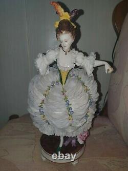 Antique original porcelain Figurine lace dress 1890 Germany Volkstedt