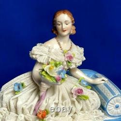 Antique original porcelain dresden lace Volkstedt lady figurine germany rare