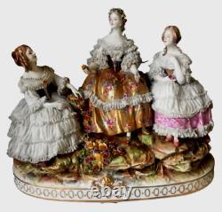 Antique original porcelain figurine Lace Empress honor 1890 Volkstedt RARE