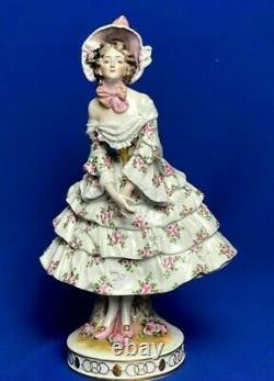 Antique original porcelain lady russian ballet figurine Volkstedt Germany rare