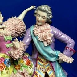 Antique original porcelain muller co dresden lace figurine 1900s RARE Couple