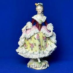 Antique original porcelain volkstedt lady lace figurine marked 1900s RARE