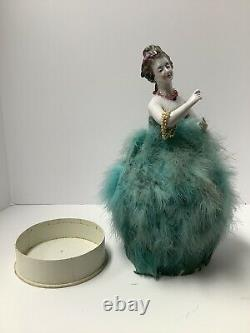 Art Deco Porcelain Doll Candy Box. Antique Germany. Ostrich Feathers