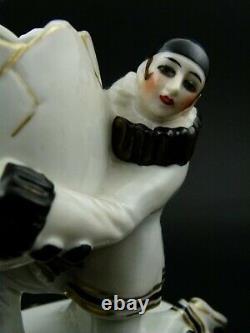 Beautiful Antique German Porcelain Powder Dish & Half Doll Pierrot Powder Puff