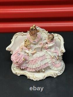 Dresden Lace Porcelain Figurine Mother Reading A Book