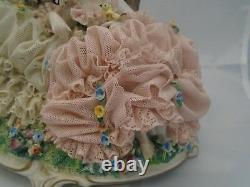 Dresden Lace Two Maidens in a Meadow Figurine Unterweissbach Germany ANTIQUE