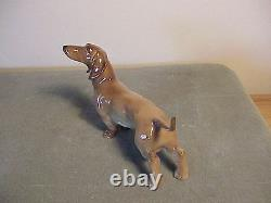Exquisite Vintage German Porcelain Dachshund Dog Figurine Extremely Delicate