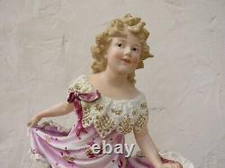 Gebruder Heubach Hand Painted Dancing Girl Bisque Piano 15.5 Figurine (c. 1900)