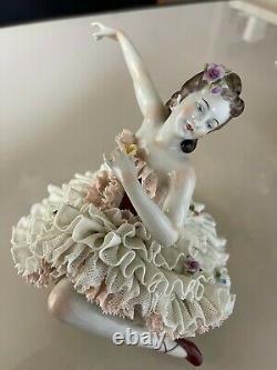 German/Vintage Dresden Lace Porcelain Figurine- Ballerina/Unterweißbach Rare