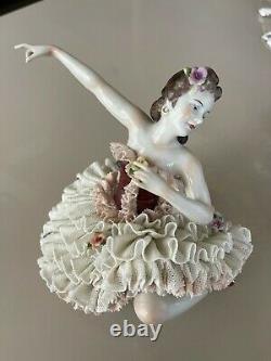 German/Vintage Dresden Lace Porcelain Figurine- Ballerina/ Unterweißbach Rare