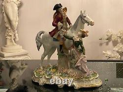 Large Antique Sitzendorf Dresden Lace Figurine, 12 Tall