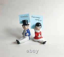 Lot Lady Gent Place Card Holder Top Hat Porcelain Figurine German Art Deco VTG