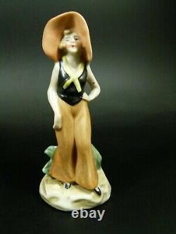 Lot Of 5 Genuine Antique German Porcelain Bathing Figurine Lady Half Doll Rel