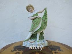 Lovely Antique Gebruder Heubach Dancing Girl Bisque Piano 11.5 Figurine, c. 1890