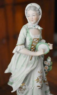Lovely Antique German Bisque Romanticized Shepherd & Shepherdess Figurine Couple