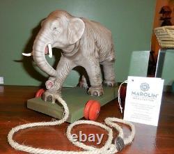 Marolin Paper Mache Elephant Vintage Style Pull Toy