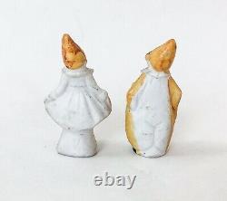 Mini Clown Woman Pierrot Bisque Doll Figurine Miniature Porcelain German VTG Lot