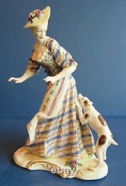 Nymphenburg RARE Porcelain Figurine Lady w Attack Dog Bustelli Design Antique