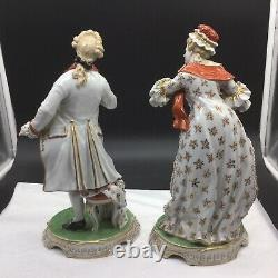 Pair 12.5 Antique Dresden Man Woman Figurines Figures Statues Lot Germany
