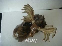 RRR RARE Antique Hutschenreuther Germany Porcelain Moose Figurine K. TUTTER