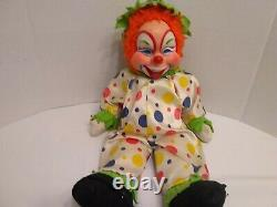 RUSHTON Orange Hair VERY RARE AND VINTAGE RUBBER FACE HAPPY CLOWN