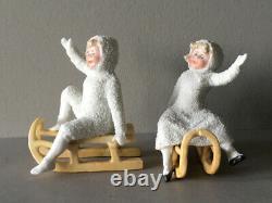 Rare Antique Heubach German Porcelain Snow Baby Pair On Sleigh