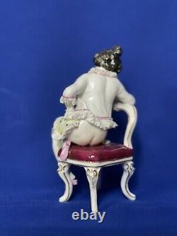 Rare Lace porcelain figurines ladies antique Volkstedt Germany