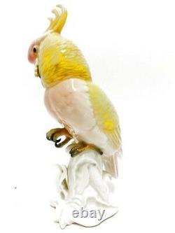 Rare Vintage Karl Ens Volkstedt Yellow & Red Cockatoo Porcelain Figurine