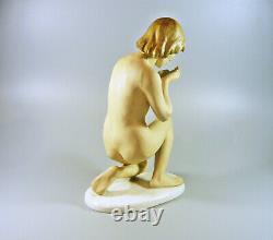 Schaubach Kunst, Art Deco, Woman Drinking, Antique Porcelain Figurine! (i148)