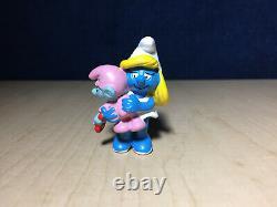 Smurfs 20192 Smurfette & Baby Smurf Vintage Figure PVC Toy Figurine Rare Germany