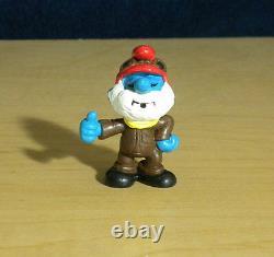 Smurfs 20223 Pilot Papa Smurf Airplane Rare Vintage 1985 Figure PVC Toy Figurine